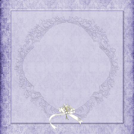 purple damask background with bouquet and ribbon photo