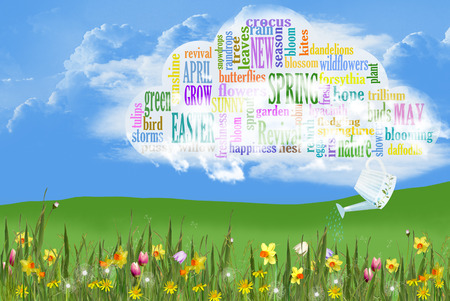 spring word cloud with spring flowers in grass Фото со стока