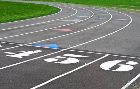 sport spoor met een groot aantal op startlijn