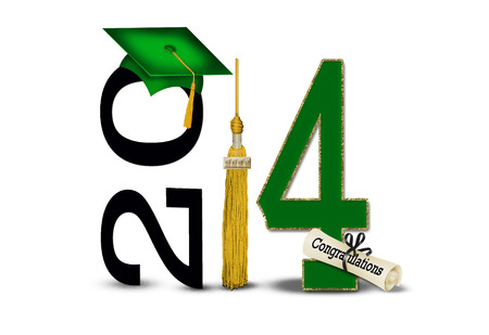 green 2014 graduation cap with gold tassel photo