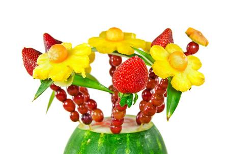 fruit: edible fruit bouquet in a watermelon Stock Photo