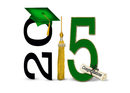 tassel: green cap and gold tassel for class of 2015