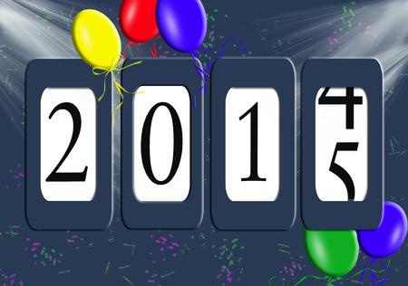 Nieuwe Jaar 2015 kilometerteller met partij ballonnen Stockfoto