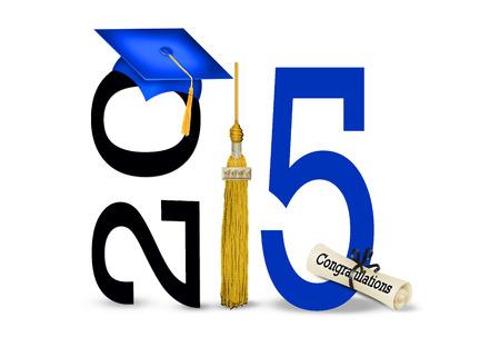 blue graduation cap with gold tassel for class of 2015 Standard-Bild