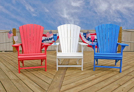 patriotic Adirondack chairs with flags