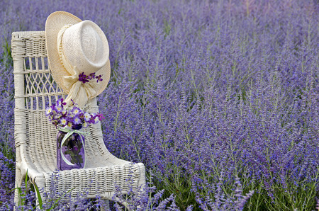 mason jar and hat on chair in purple Russian sage