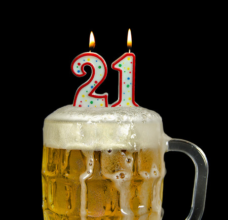 birthday candles for 21st birthday in beer