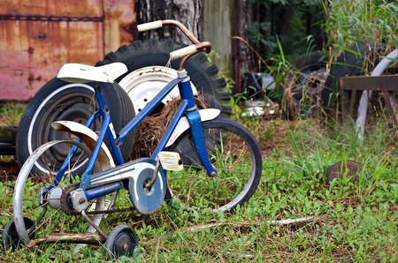 rusty old bike in weeds photo