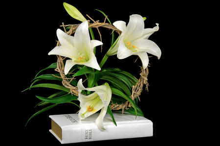 Easter crown of thorns and lilies on white Holy Bible