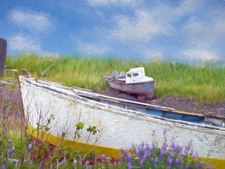 old boats in weeds with impressionistic effect