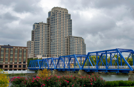 blue bridge in Grand Rapids, Michigan