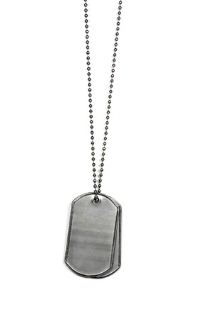 military dog tags isolated on white background Stock Photo