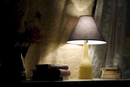 lamp with old books with impressionistic effect