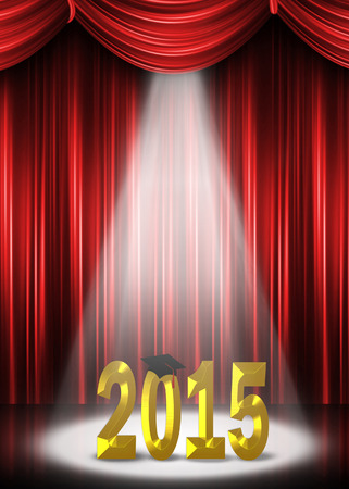 graduation 2015 in the spotlight with red curtain backdrop Stok Fotoğraf