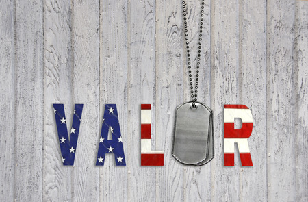 military dog tags with flag valor on weathered wood Stock Photo