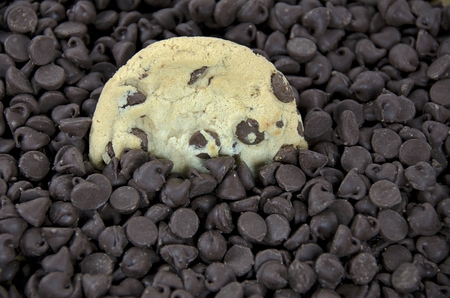 single chocolate chip cookie in chocolate chip pile Stock Photo