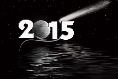 full moon and comet for 2015 new year Фото со стока
