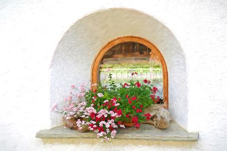 flower and driftwood window impressionism Stock Photo
