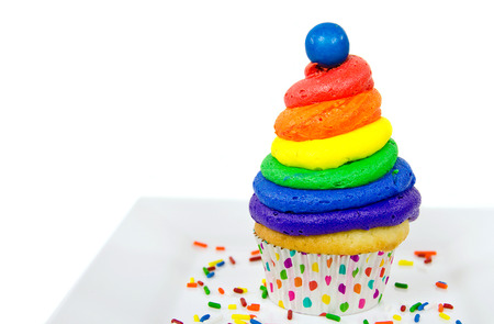 gumball: rainbow frosting on cupcake with gumball