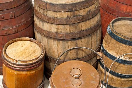 vintage wood barrels Фото со стока