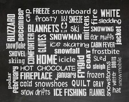 word: winter word art collage on a black chalkboard