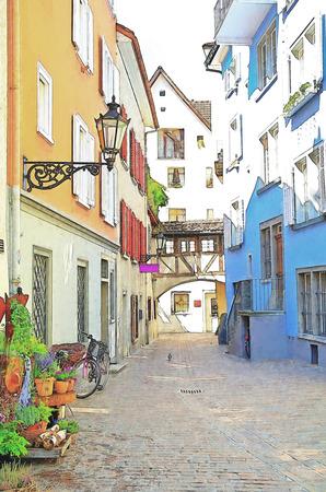 quaint Austrian town with cobblestone street