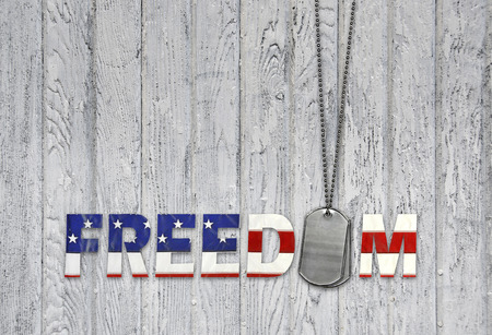 military dog tags with patriotic freedom flag font