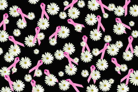 black breast: breast cancer awareness pink ribbons and daisies on black