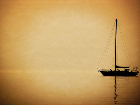 sailboat silhouette with texture and vignette Stock Photo - 38235504