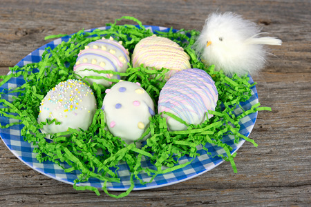 Easter egg cookies with baby chick photo