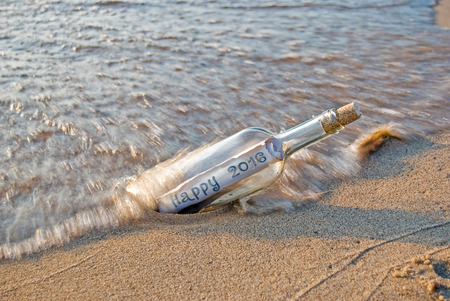 message in a bottle: New Year 2016 message in a bottle Stock Photo