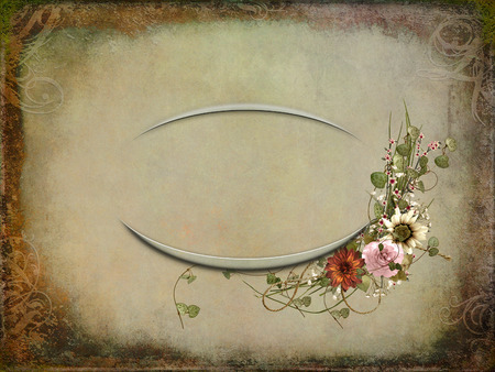 Vintage texture oval frame with floral bouquet