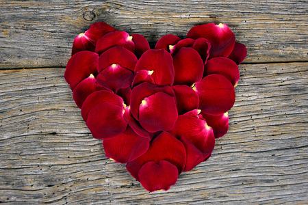 rosas rojas: p�talos de rosas rojas en forma de coraz�n en la madera del granero Foto de archivo