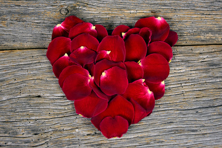 red rose petals in a heart shape on barn wood