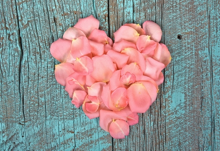 painted wood: pink rose petal heart on turquoise painted wood