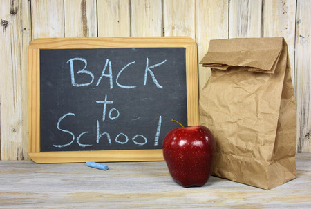 back to school sign on chalkboard with paper bag and apple