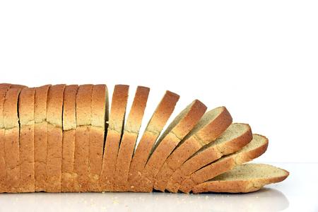 whole wheat bread: sliced whole wheat bread on white