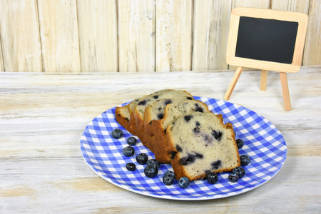 blueberry bread with chalkboard