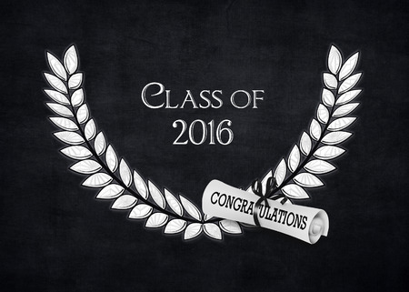 silver laurel and 2016 graduation diploma on black Stock Photo