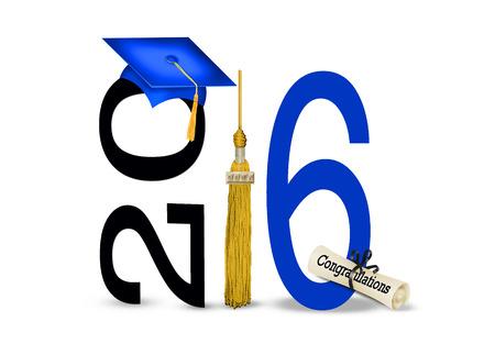 blauwe cap en goud kwastje voor de klasse van 2016