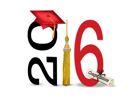 clases: sombrero de graduaci�n rojo y borla de oro sobre fondo blanco para el 2016 Foto de archivo