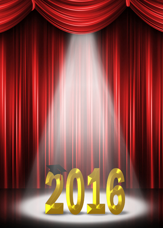 limelight: graduation 2016 in the spotlight with red curtain backdroup Stock Photo