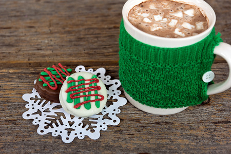 hot chocolate drink with Christmas cookies on snowflake Reklamní fotografie