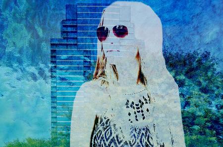 teenage girl and skyscraper double exposure effect