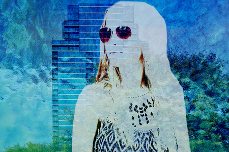 double exposure: teenage girl and skyscraper double exposure effect