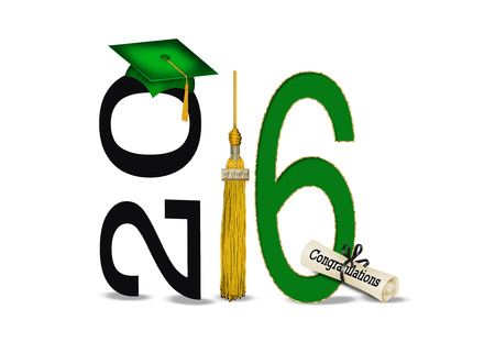 green and white: green graduation cap and 2016 gold tassel on white