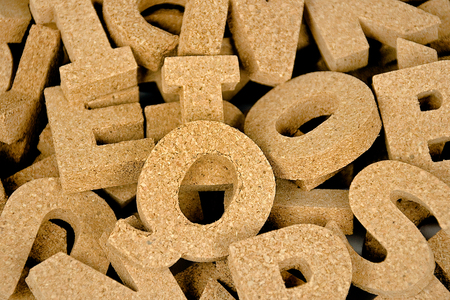 jumbled: collection of jumbled cork block letters