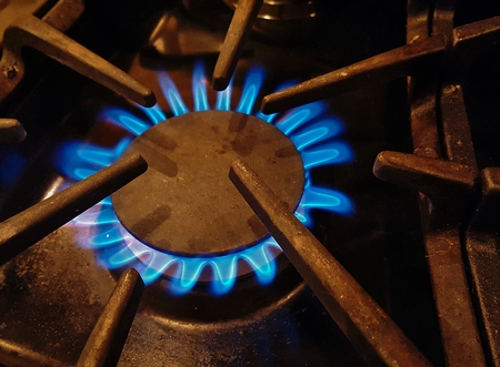 gas stove: blue gas flame from stove top burner