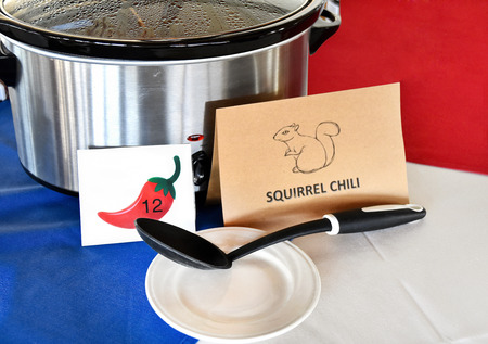 crock pot with squirrel chili in chili cook off contest