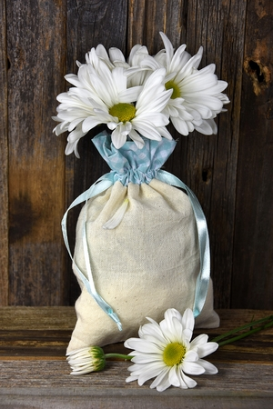muslin: White daisy bouquet in muslin sack tied with blue satin ribbon